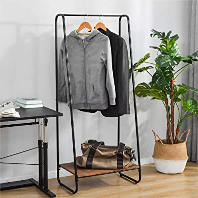 Clothing Double-Rail Clothes Rails Heavy-duty Garment Rack with Shelves on Wheels for Bedroom Black-Vivo Technologies