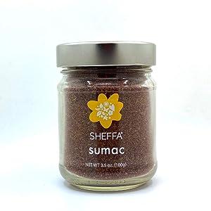 SHEFFA Ground Sumac Spice Powder Seasoning Blend (3.5oz Glass Jar) NO SALT, Gluten Free, No Additives - Mediterranean Middle Eastern - Red Dried Mix for hummus turkish turkey breast or zaatar, allepo