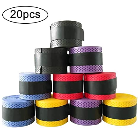 INTVN Sobregrips de Raquetas 20 Piezas Overgrip de Raqueta de Tennis Badminton para Grip Antideslizante y Absorbente, Colores Variados