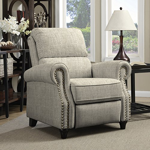 ProLounger Barley Tan Linen Push Back Recliner Chair by angelo:HOME