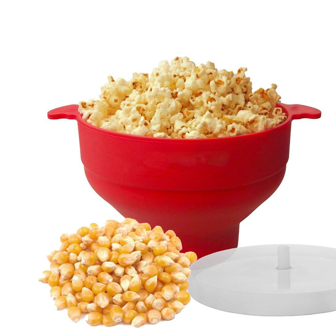 Popcorn Ciotola, Wanxida Ciotola Pieghevole per Forno a Microonde Ciotola in Silicone con Comode Maniglie lavabile in lavastoviglie Senza Olio BPA Free Popcorn Popper con Coperchio Antispruzzo