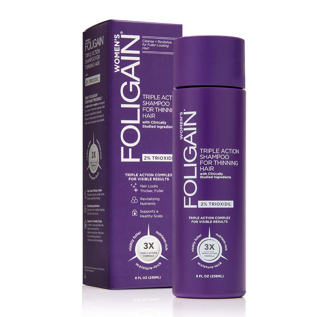 Foligain Triple Action Shampoo For Thinning Hair For Women with 2% Trioxidil | Hair Stimulating Shampoo | Women's Volumizing Shampoo (8oz)
