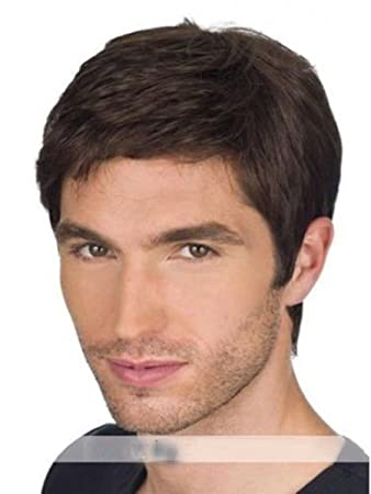 Dark Brown Short 100% Real Human Hair Wigs for Men Natural Straight Costume Male  Wig 57842e33e60d