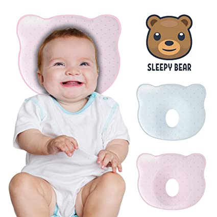 Baby Head Shaping Pillow for Newborn Breathable Baby Memory Foam Pillow for Baby and Infant Flat Head Syndrome Prevention and Head Support Pink