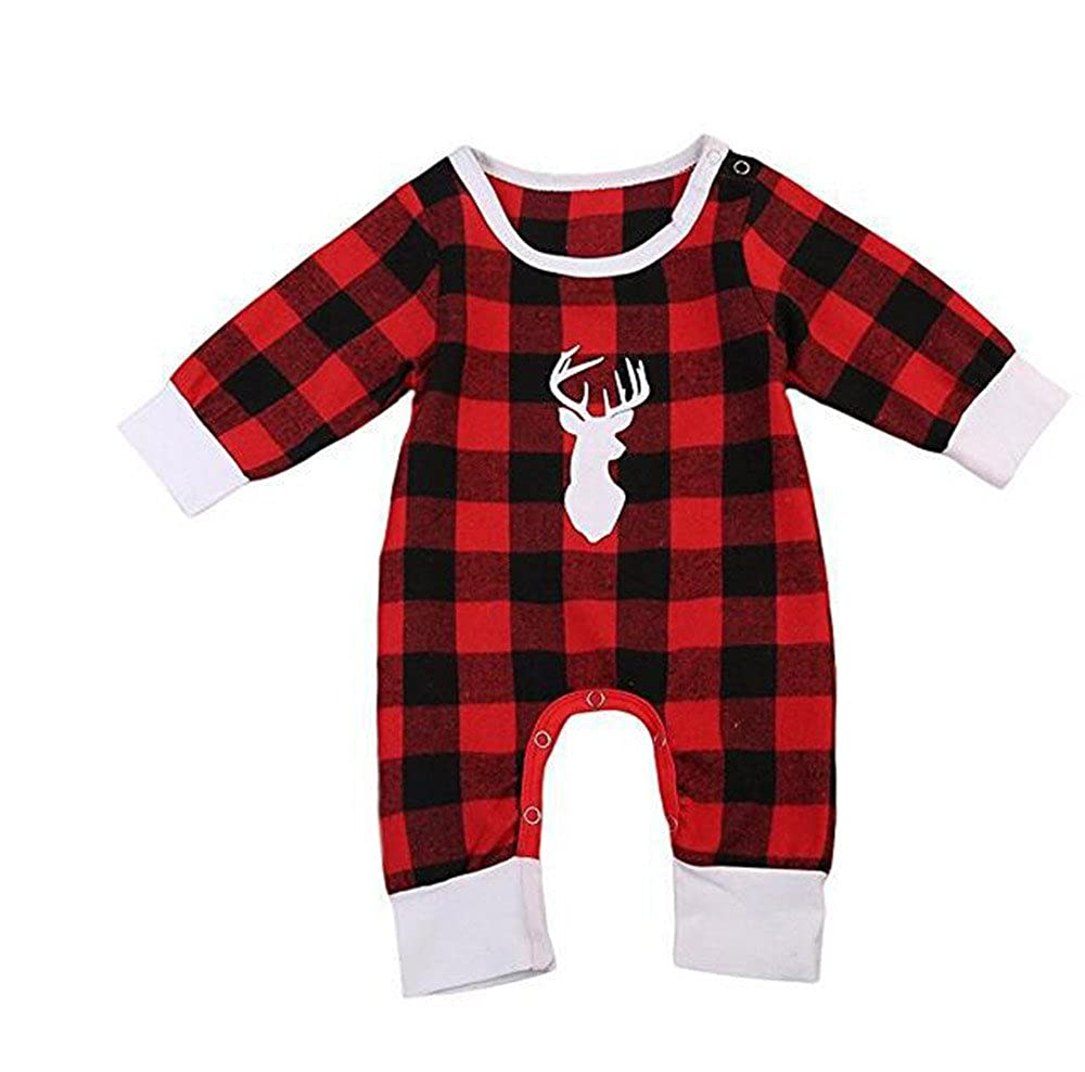 LNGRY Toddler Baby Boy Girl Outfit Deer Printed Red Plaid Pattern Clothes Romper