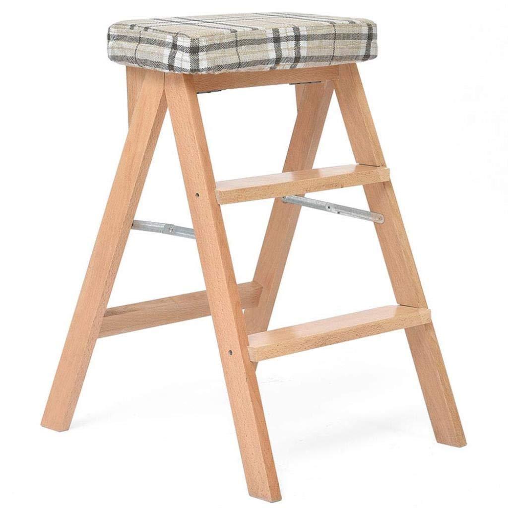 最初の木製折りたたみステップスツールキッチンハイスツールクリエイティブポータブル木製ベンチホーム大人多機能チェア42×54×65センチ ZHHCP (Color : Wood Color5) B07S3NV9DK Wood Color5