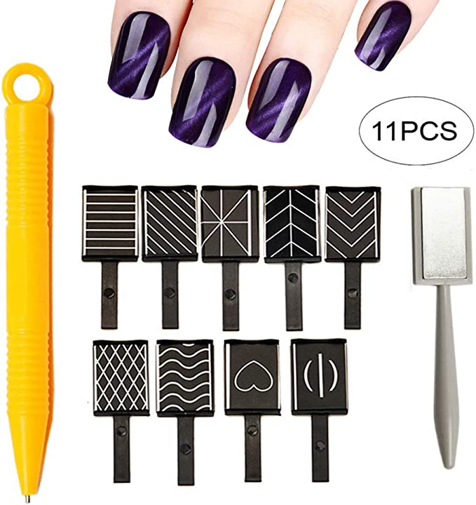 Xiton 11pcs Kit de Esmaltes de Uñas 3d imán magnético ojo de gato bolígrafo dibujo Vertical Stick para herramientas de uñas polaco mágico: Amazon.es: Belleza