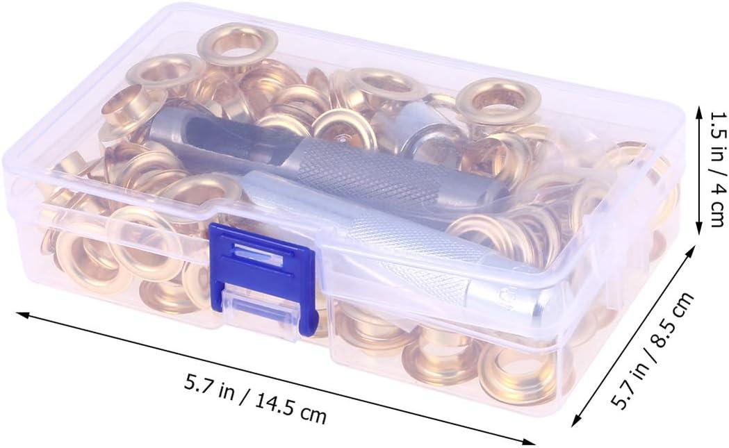 DOITOOL 100pcs 12mm Kit de Grommets Eyelets Outils en m/étal oeillets avec 3 outils dinstallation pi/èces dans la bo/îte de rangement pour lartisanat en cuir faisant la r/éparation de v/êtements or