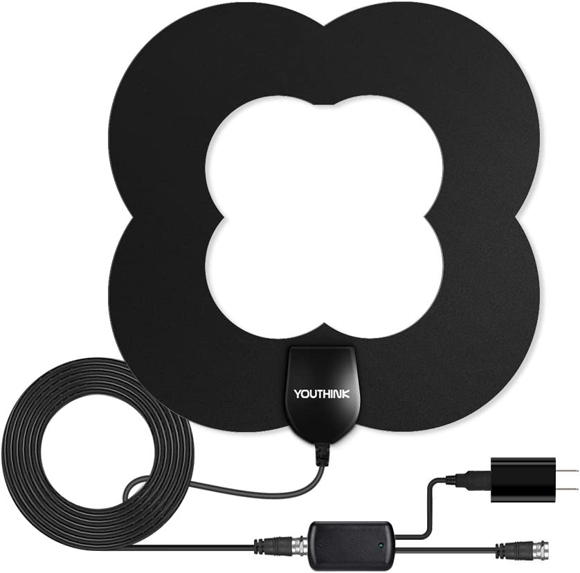 HD TV Antenna 60+Long Miles Range Amplified High-Definition Digital TV Antenna with Detachable Amplifier Signal Booster Indoor, 16.5ft Coaxial Cable for HD 1080P 4K Free TV Channels
