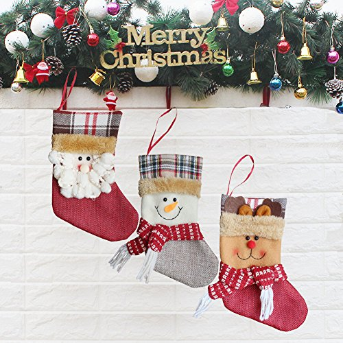 3Pcs a Set - Christmas Decorations Personalized Fireplace Stockings Cute 3D Embroidery Hanging Xmas Tree Toys Gift Candy Ornaments Santa's Family Holder for Kids (19cm,Set of 3) (Family Personalized Reindeer Ornament)