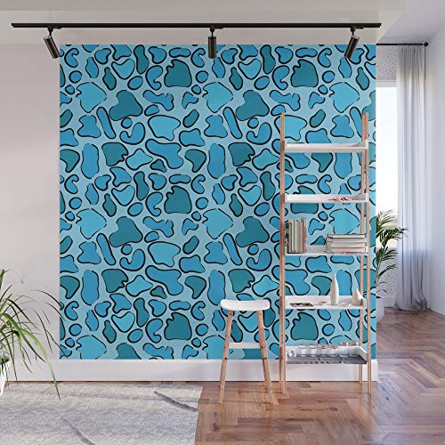 Blue Panel Outline (Society6 Wall Mural, 8' X 8', Leopard Blue Outline by kippygo)