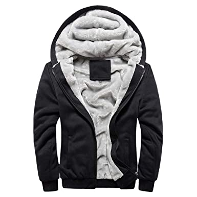 c9549ed1ea3 Plus Size M-5XL Mens Warm Winter Hoodie Fleece Suit Coat Full Zip Up Plus