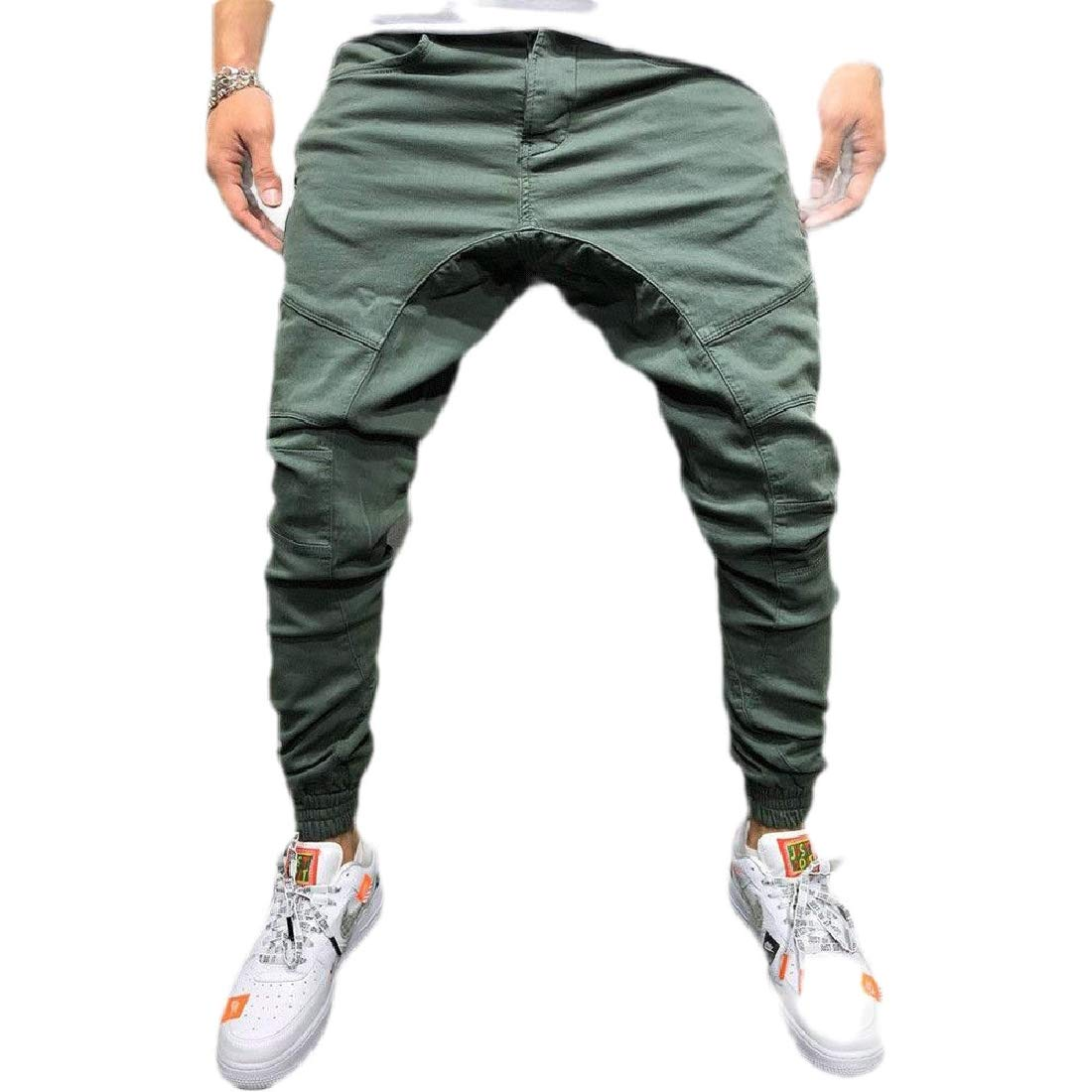 JXG Men Exercise Multi-Pocket Cargo Loose Fit Solid Color Pants Trousers