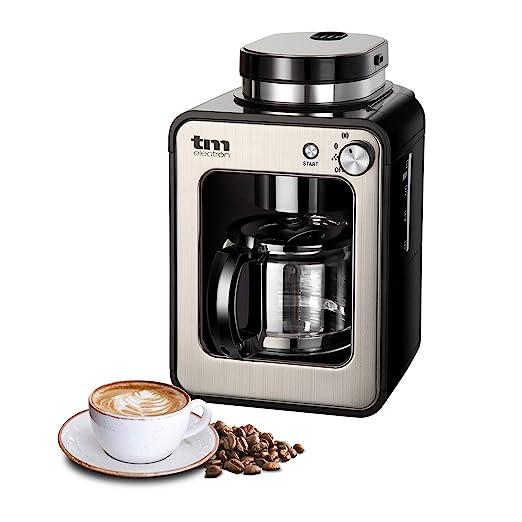 TM Electron TMPCF020S Mini cafetera de Goteo con Molinillo Grano, 4 Tazas, 600W y Filtro Lavable Compatible con café molido, 600 W, Acero Inoxidable, ...