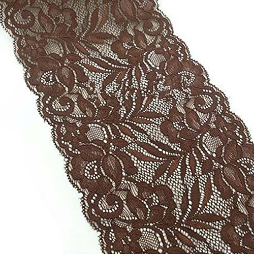 (10 yards 6 Inches Wide Stretch Polyester Embroidery Floral Pattern Lace Trimming DTY Craft Supply Clothing Accessories (Coffee))