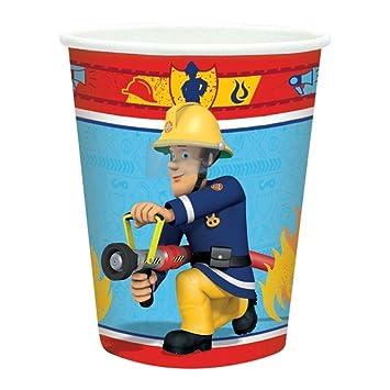 """Lote de 24 Vasos de Cartón Infantiles Decorativos""""Sam el Bombero"""". Vajillas y"""