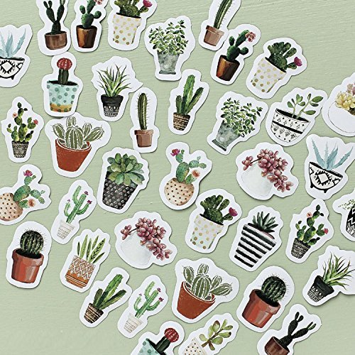 MiiSii 40PCS Decorative Stickers Sets Die-Cut Pack for Scrapbooking Planner Journal Notebook (Cactus)