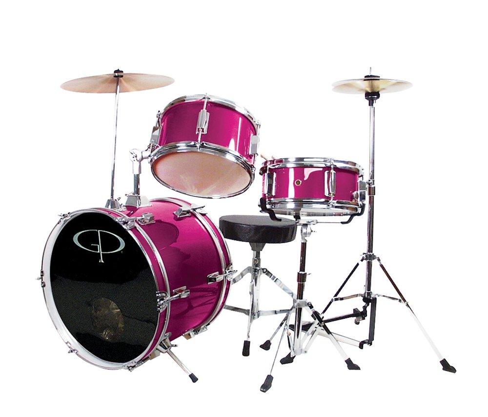 GP Percussion GP50MPK Complete Junior Drum Set (Pink, 3-Piece Set) by GP Percussion