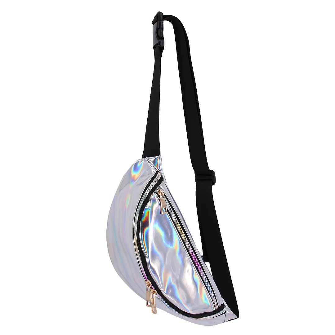 Multifit Creative Hologram Waist Bag Sports Outdoor Fanny Pack PU Bum Bag Purse