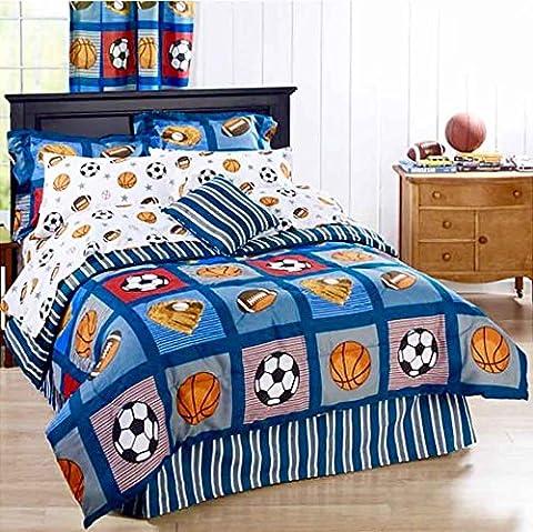 BOYS SPORTS PATCH Football Basketball Soccer Balls Baseball Blue REVERSIBLE Comforter Set (QUEEN SIZE 8pc Bed In A - Blue Reversible Comforter