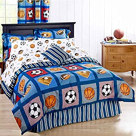 BOYS SPORTS PATCH Football Basketball Soccer Balls Baseball Blue REVERSIBLE Comforter Set QUEEN SIZE 8pc