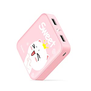 Yoobao Portable Charger 10000mAh Power Bank External Battery Pack Powerbank Cell Phone Battery Backup Charger with Dual USB Output Comaptible Cellphone Smartphones - Pink Sweet