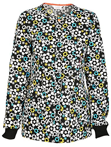 code happy Women's Snap Front Floral Print Warm-Up Scrub Jacket Medium Print (Scrub Jackets Print)