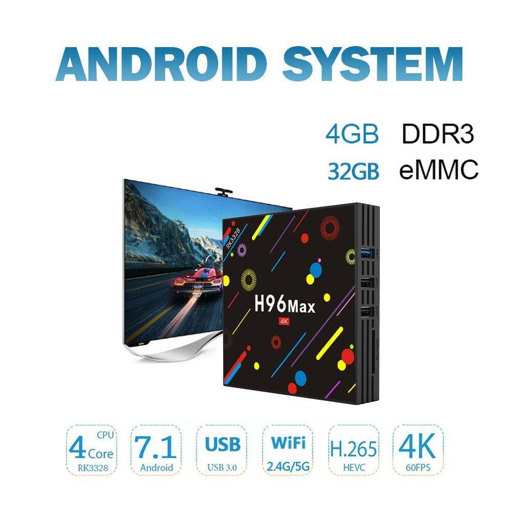 Amazon.com: [2018 Version] TV Box, H96 Max 4GB +32GB Smart 4K TV Box Android 7.1 RK3328 Quad Core CPU Wifi Set Top Boxes Support 3D 4K Ultra HD TV: ...