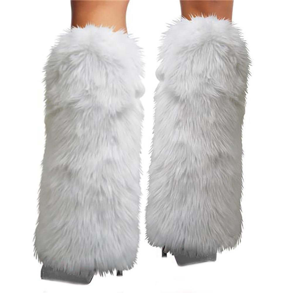 Women's Fur Leg Warmers Warm Furry Fuzzy Leg Warmers Rave Fluffies Boot Cuffs Cover (White-B)