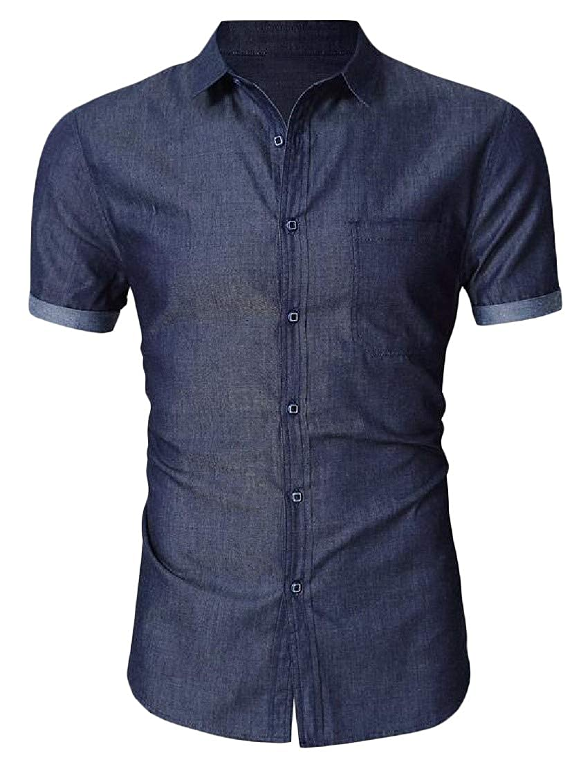 pipigo Mens Summer Button Down Casual Denim Slim Fit Short-Sleeve Shirts
