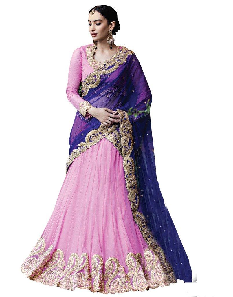 DesiButik's Wedding Wear Elegant Pink Net Lehenga