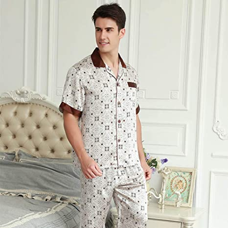 ZWLXY Pijamas De Los Hombres Pijama Traje De Seda Pijamas ...