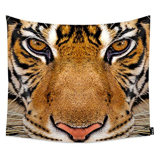 Price comparison product image Mugod Tiger Tapestry Close-Up Detail Beautiful Face Portrait of Tiger Home Decor Tapestry Wall Hanging for Bedroom Living Room Dorm,  60WX51H Inches