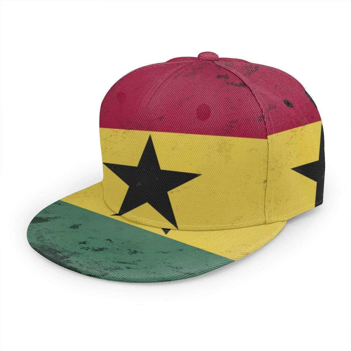 Kunming~ Retro Grunge Ghana Flag Boy Adjustable Denim Baseball Caps Hip Hop Cap