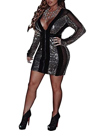 d78f65e2b4d Womens Sexy V Neck Long Sleeve Sequin Bodycon Mini Dress Lace Mesh See  Through Sheath Dresses Clubwear with Zipper Plus Size at Amazon Women s  Clothing ...