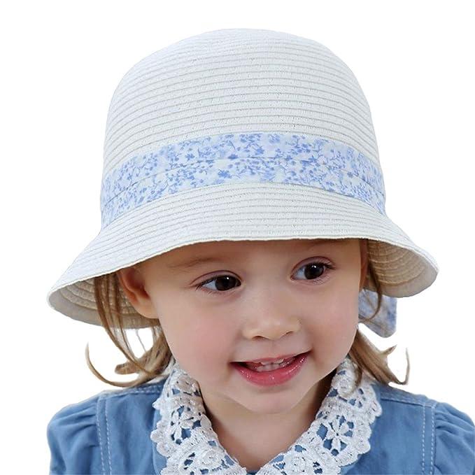 1145a3e999495 Sombrero Verano Para Bebés Niños Beige Paja Sombrero Pesca para Chicas Sol Sombrero  Playa Bowknot  Amazon.es  Ropa y accesorios