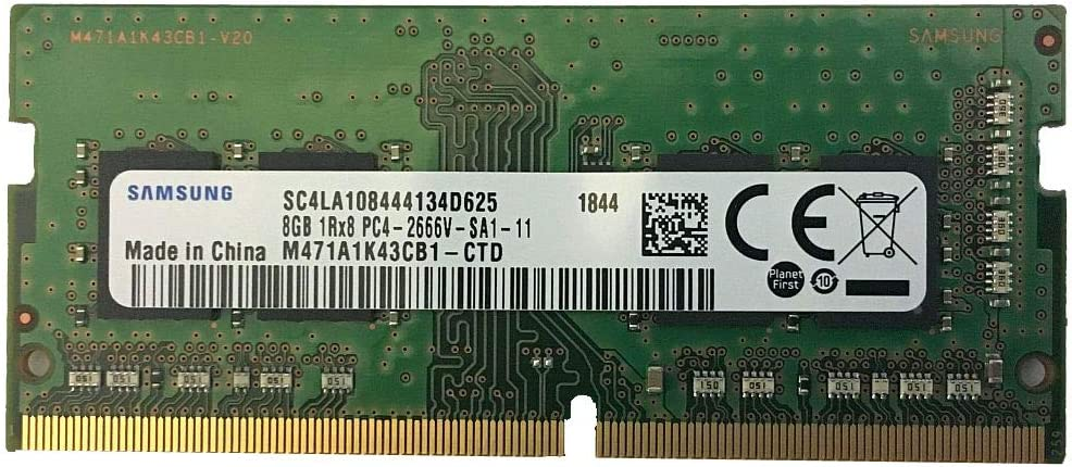 Samsung M471A1K43CB1-CTD 8GB DDR4 2666MHz Memory Module - Memory Modules (8GB, 1 x 8GB, DDR4, 2666 MHz, 260-Pin SO-DIMM, Black, Green)