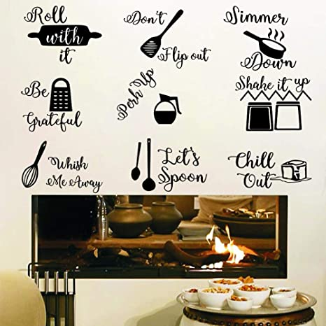 Amazon Com Iarttop Kitchen Quotes Wall Decal Roll It Let S Spoon Sticker Black Cooking Utensils Wall Art For Kitchen Dining Room Fridge Restaurant Decor Home Kitchen