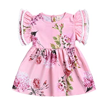 993beb4a5669 Amazon.com  Baby Girls Lace Dress - GorNorriss Summer Flying Sleeve Ruffled  Lace Floral Print Single Skirt  Clothing