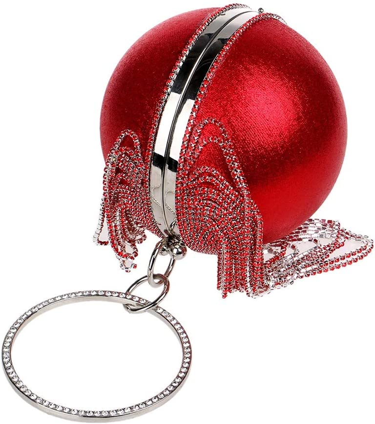 Elegant Delicate Chain Shoulder Crossbody Bag,Gold Aodow Tassel Spherical Evening Clutch