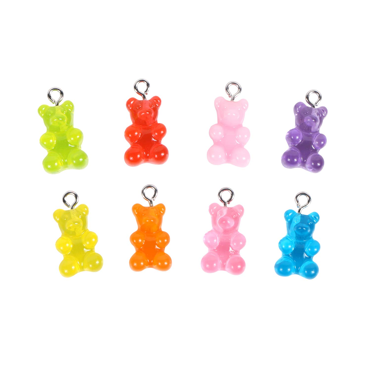50Pcs Resin Cute Bear Mixed Color Charms Pendant DIY Keychain Making Necklace A+