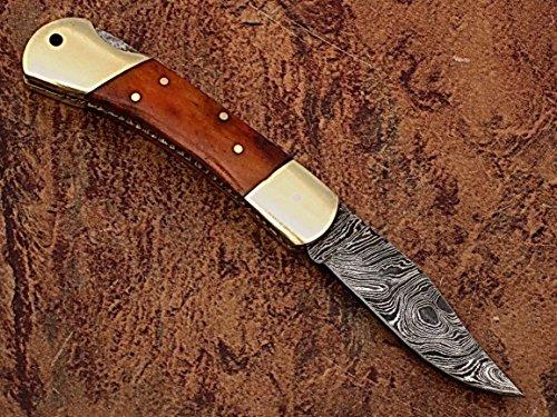 Handgefertigt Echt Damaskus Stahl 7.1Awesome faltbar Taschenmesser mit Farbe Camel Knochen Griff: (bdm-40)