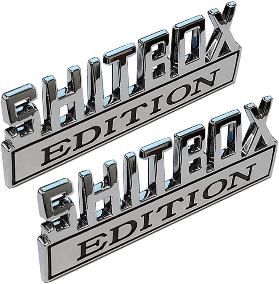 XCBW SHITBOX Edition 3D Metall Auto Logo Emblem Universal Auto Kofferraum Aufkleber Aufkleber Zubeh/ör f/ür F-ord C-hevrolet und andere Pickups,1PCS