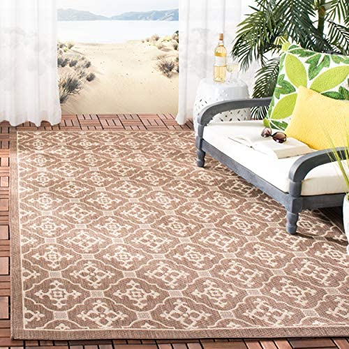 Safavieh Courtyard Collection CY6564-204 Chocolate and Cream Indoor Outdoor Area Rug 6 7 x 9 6