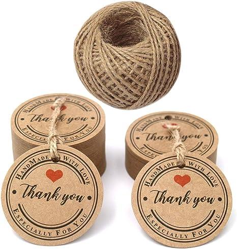 Round RED HEART THANK YOU Kraft Stickers x 30 Wedding Vintage Craft Scrapbooking