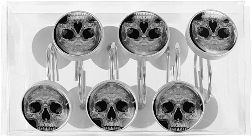 Idealiy Human Skeleton Head Skull Stainless Steel Shower Curtain Hooks for Bathroom Shower Rods Curtain and Liner Set of 12