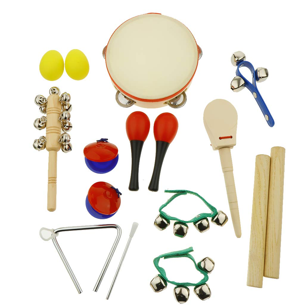 kesoto 16pcs Toddler Musical Instrument Toy Set, Tambourine & Sand Egg & Maracas & Hand Drum and More for Kids Children Music Party Toy by kesoto (Image #4)