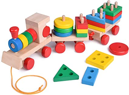 Wooden Puzzle Toddler Toys Shapes Sorter Preschool Blocks Stacking Games 01