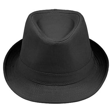 3906b63b2daee La Vogue Fedora Trilby Hat Solid Color Sun Jazz Cap (Black)  Amazon.co.uk   Clothing