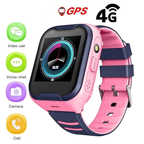 Goglor Kids Smartwatch Phone, Childrens IP67 Waterproof SOS Call GSM Sim Touch Screen 4G Smart Tracker Watch, Support Video Voice Chat/Anti-Lost ...